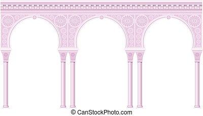 cor-de-rosa, estilo, oriental, arcada