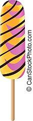 cor-de-rosa, estilo, popsicle, laranja, ícone, listrado, caricatura