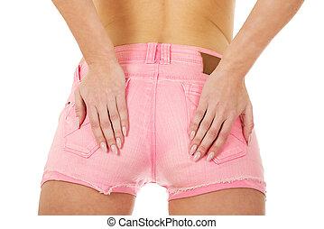 cor-de-rosa, excitado, shorts., mulher