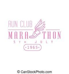 cor-de-rosa, executando, desenho, maratona, etiqueta