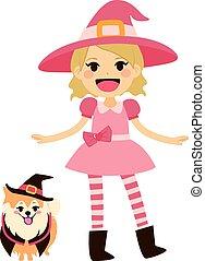 cor-de-rosa, feiticeira, cão