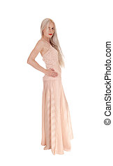 cor-de-rosa, ficar, mulher, vestido, longo
