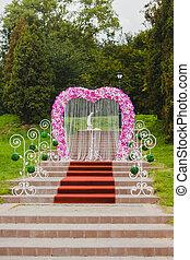 Cor-de-rosa, ficar, passos, casório, arco, orquídea