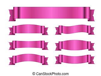 cor-de-rosa, fitas, bandeiras, jogo