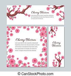 cor-de-rosa, flor, cereja, convite, vetorial, sakura, modelo, casório, flores, cartão