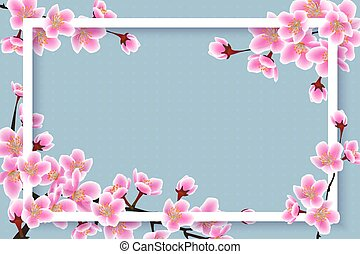 cor-de-rosa, flor cereja, primavera, quadro, -, sakura, tempo, flores, borda, 3d
