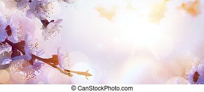 cor-de-rosa, flor, primavera, árvore, fundo, florescer