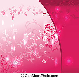 cor-de-rosa, floral, abstratos, fundo