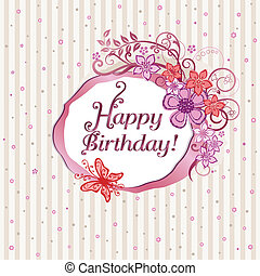 cor-de-rosa, floral, cartão aniversário, feliz