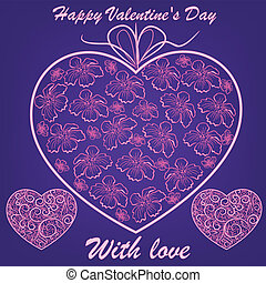 cor-de-rosa, flores azuis, fundo, corações