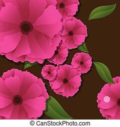 cor-de-rosa, flores frescas, fundo
