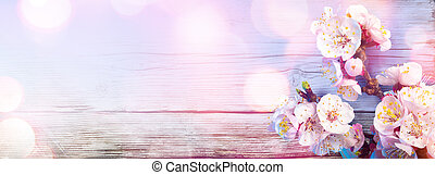 cor-de-rosa, flores, ligado, madeira