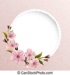 cor-de-rosa, flores mola, fundo, cereja