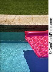 cor-de-rosa, flutuador, pool.