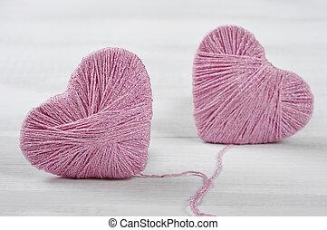 cor-de-rosa, forma coração, dois, clews