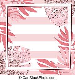cor-de-rosa, frame., folhas, tropicais, fundo, listrado