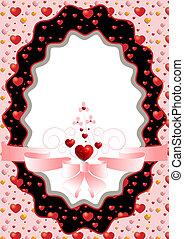 cor-de-rosa, frame oval, corações, arco