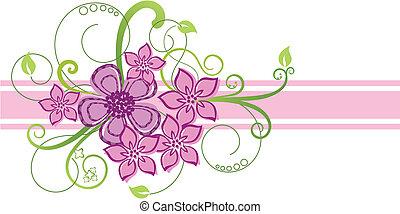 cor-de-rosa, fronteira floral, desenho
