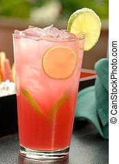 Cor-de-rosa, gelado, refrescar, coquetel