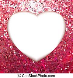 cor-de-rosa, heart., ouro, quadro, eps, forma, 8