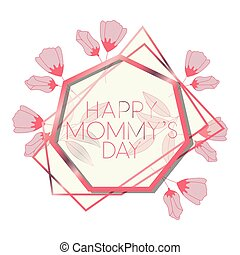 cor-de-rosa, heptagon, mãe, quadro, dia, feliz