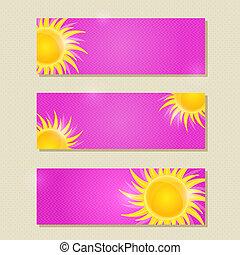 cor-de-rosa, horizontais, bandeira, ou, cartão, jogo, com, sol amarelo