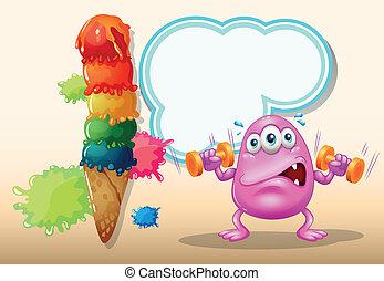 cor-de-rosa, icecream, gigante, monstro, exercitar