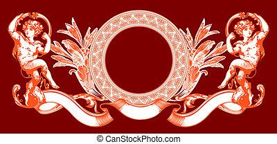cor-de-rosa, illustration., cupid, sinal, vetorial, red.