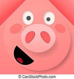 cor-de-rosa, ilustração, porca, alegre, vetorial, origami