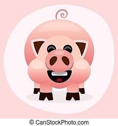 cor-de-rosa, ilustração, porca, fundo, branca, sorrindo, caricatura