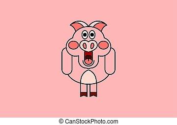 cor-de-rosa, ilustração, vetorial, piggy, fundo, caricatura