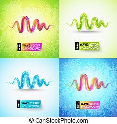 cor-de-rosa, impressionante, onda, verde, retro, fundo