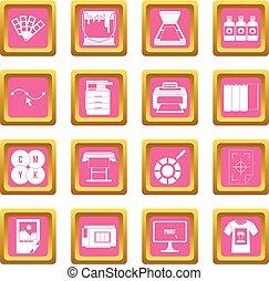 cor-de-rosa, imprimindo, ícones