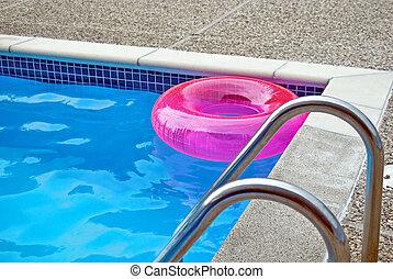 cor-de-rosa, inflável, piscina, anel