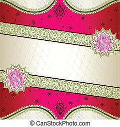 cor-de-rosa, inspirado, indianas, bandeira, mehndi