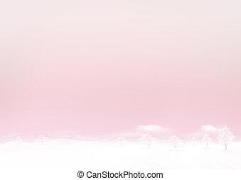 cor-de-rosa, inverno, chão, céu, neve, papel, fundo, horizontais