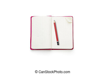cor-de-rosa, isolado, diário, vermelho, em branco, branca, abertos, lápis