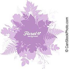 cor-de-rosa, isolado, silhuetas, foliage, trendy, bandeira