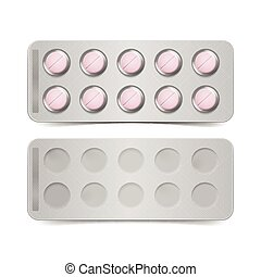 cor-de-rosa, isolado, vetorial, fundo, branca, pílulas, pacote