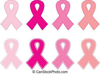 cor-de-rosa, jogo, câncer, isolado, fita branca