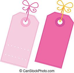 cor-de-rosa, jogo, etiquetas, isolado, valentine, em branco, branca