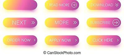 cor-de-rosa, jogo, isolado, white., ícones