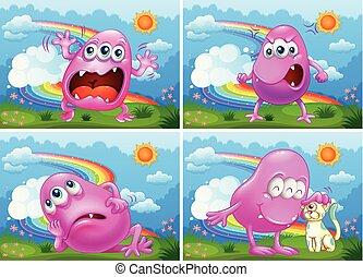 cor-de-rosa, jogo, monstro