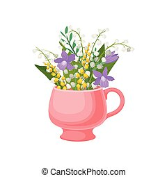 cor-de-rosa, lírios, ilustração, experiência., vetorial, mug., branca, vale