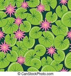 cor-de-rosa, lírios, pattern., leaves., seamless, água