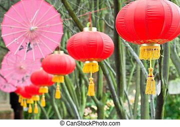 cor-de-rosa, lanternas, (2), guarda-chuvas, chinês