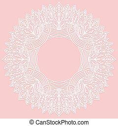 cor-de-rosa, laser, renda, figura, padrão, quadro, leaves., redondo, zenart, experiência., corte, esculpido, printing., plotter, corte, suitable, ou