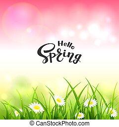 cor-de-rosa, lettering, natureza, primavera, fundo, olá