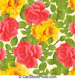 cor-de-rosa levantou-se, seamless, textura, caule, amarela, vector.eps