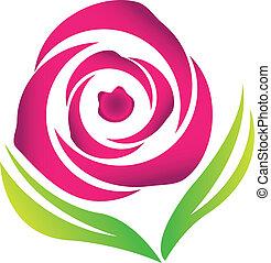 cor-de-rosa levantou-se, vetorial, logotipo